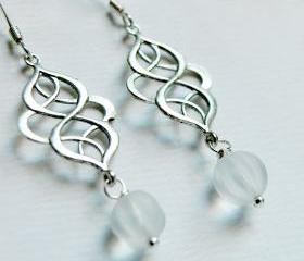 Glass Dangle Earrings-Silver Charm Earrings