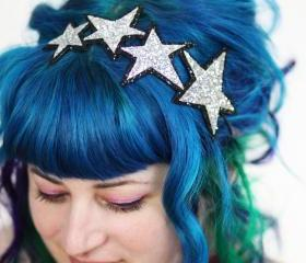 Silver Stars Headband, Glitter, Silver and Black