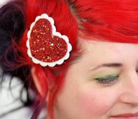 Heart Hair Clip, Red Glitter Heart, White Scallop Edge, Hair Barrette