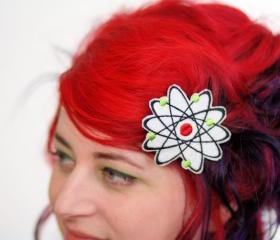 Tattoo Hair Clip, Love Heart Barrette, Red, Yellow, Turquoise and White