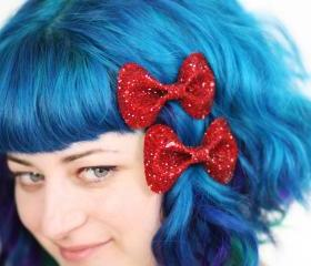 Dark Red Bow Clips, Glitter, Hair Accessories, Cute Kawaii Bows