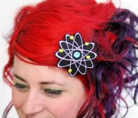 Atom Hair Clip, Boron, Science Geek Barrette, Black