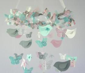 Butterflies & Birds Nursery Mobile, Baby Shower Gift