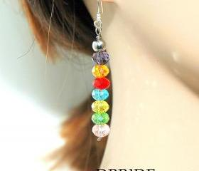 SALE Sterling Silver Rainbow Dangle Earrings - Multi color Beaded Earrings