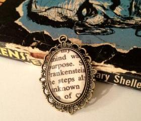 Mary Shelly's Frankenstein Antique Bronze Book Page Necklace