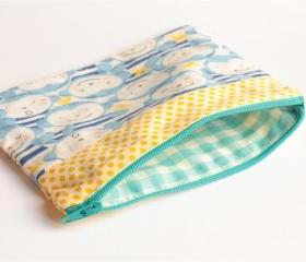 Patchwork Pouch - Monkeys and Yellow Dots