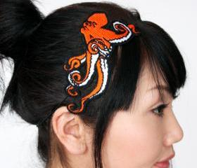 Octopus Embroidered Headband in Orange