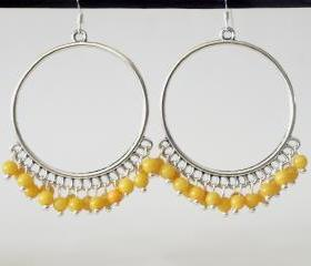 Large Hoop Yellow Earrings-Yellow chandelier earrings
