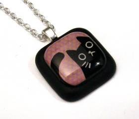 Peeping Black Cat on Purple Polka Dot Resin Pendant