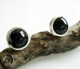 Modern Black and Sterling Silver Stud