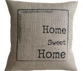 Personalized Home Sweet Home Burlap Pillow Cover