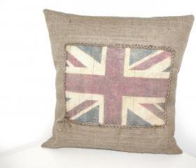 Burlap Vintage Union Jack Flag Rustic Pillow Cover