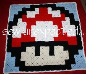 Crochet Mario Mushroom blanket - FREE SHIPPING - US ONLY