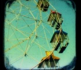 Ferris Wheel Photo Print 5x5 TtV Carnival Photography - Teal Turquoise Vintage Style Photograph