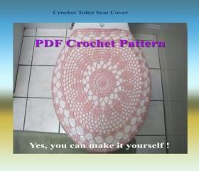 Crochet Pattern - Toilet Seat Cover for Both Standard and Elongated Toilet Seats (8VC2012)