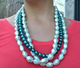 Teal and Mint Pearl necklace