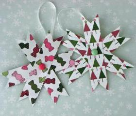 Home Decor Two Hanging Decorations - Set of 2 Paper Stars, Pink and Green