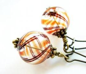Caramel Chocolate Lollipop Hand Blown Glass Earrings