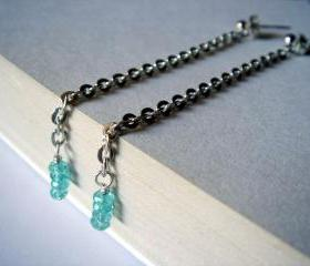 Faceted Aquamarine Long Slender Sterling Silver Earrings