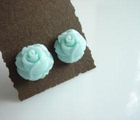 Baby Blue Rose Studs