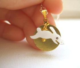 Sterling silver necklace with shell rabbit and brass disc - Bunny and a Golden Moon
