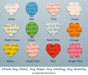 200 Personalised Confetti - Choice Of 4 Shapes, 12 Colours Of Card - Great For Special Occassions