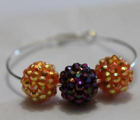 purple and orange disco ball large hoop earrings