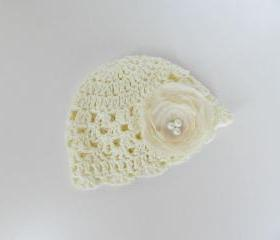 Crochet hat -Baby hat-Newborn baby girl crochet hat- Off white - Silk flower -Organic cotton -Photo prop -