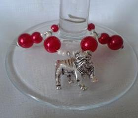Bulldog Wine Glass Charms