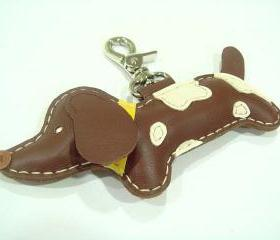 BIG Lilah the Dachshund Leather Charm ( Brown )