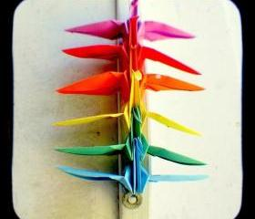 Rainbow Origami Peace Cranes Photo 5x5 TtV Colorful Photography Print - Home Decor Wall Art Photograph