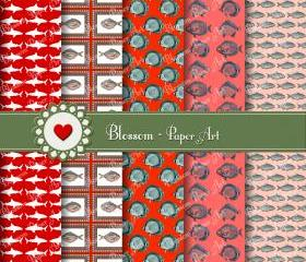 Red Fishes Digital Scrapbooking Paper Pack - Vintage scrapbooking - Paper Design - Blossom Paper Art