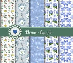 Light Blue Vintage Flowers - Digital Scrapbooking Paper Pack - Download Image - 12x12 inches 300dpi - 1042