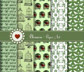 Digital Scrapbooking Paper - Green Vintage Birds - Cardmaking - Scrapbooking - Download Image - Blossom Paper Art
