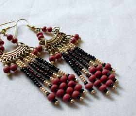 tribal earrings in red and gold seed beads