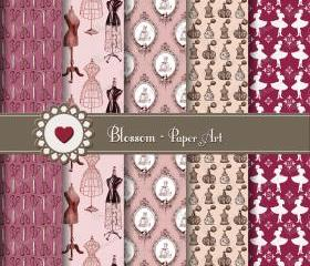 Vintage Sewing Scrapbooking Paper Pack - Digital Scrapbook - Purple - Mannequin - Ladies - Perfume - 12x12 inches - 300 dpi - 1030