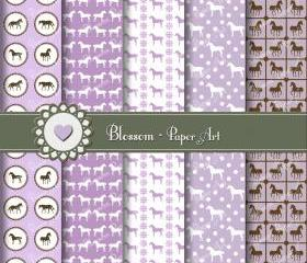 Violet Horses Scrapbooking Digital Paper Pack - Scrapbook - Collage Sheet - Printables - Download Images