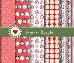 Red Vintage Clocks Digital Scrapbook Pack - Scrapbooking Paper - Printable - Wallpaper - Blossom Paper Art