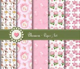 Pink Flowers Digital Scrapbooking - Vintage Paper - Download Images - Printables Scrapbook - 1023