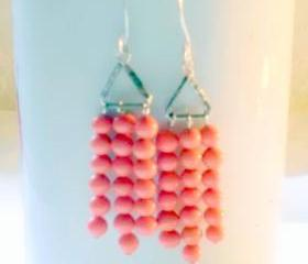 silver triangles with melon beads
