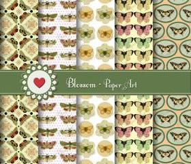 Digital Vintage Scrapbooking Paper- Butterflies - Yellow - Download Image - 12x12 inches 300 dpi. Blossom Paper Art - 1043