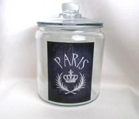 Paris Jar, French Decor, French Country Home, Cookie Jar, Cottage Decor