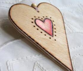 Wood Heart-on-a-Card - hanging wooden heart ... weddings, anniversarys, celebrations, personalized love token
