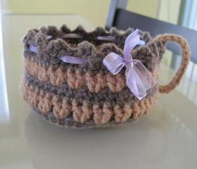 Crochet Cup-shaped Basket - Topaz/taupe heather (CCB1)