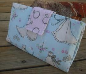   SALE   Something Blue handmade cotton wallet, bridal clutch