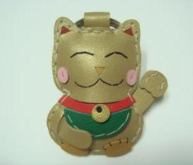 Makiyo the Maneki Neko leather keychain ( Gold )