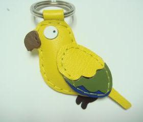 Sun Conure Parrot leather keychain ( Yellow )