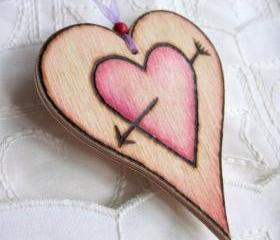 Cupid Heart-on-a-Card - personalized hanging wooden heart ... weddings, anniversarys, celebrations, love token