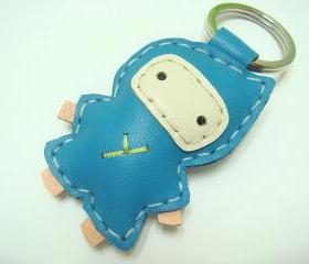 Taka the Ninja Leather Keychain ( Turquoise)