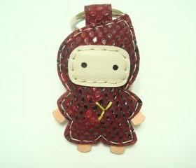 Taka the Ninja Leather Keychain ( Red lizard print )